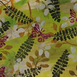 Butterflies with Ferns-mixed media