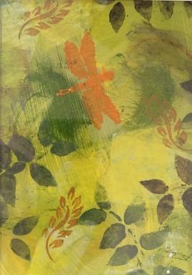 Yellow Fern III-mixed media