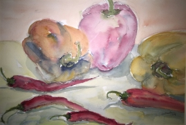 Assorted Peppers-Watercolor
