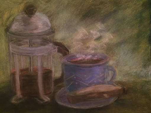 coffee and biscotti-pastel
