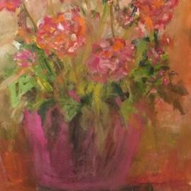 pink geraniums-acrylic