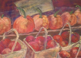 pumpkins and apples-pastel-16x20