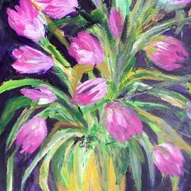 pink tulips-acrylic