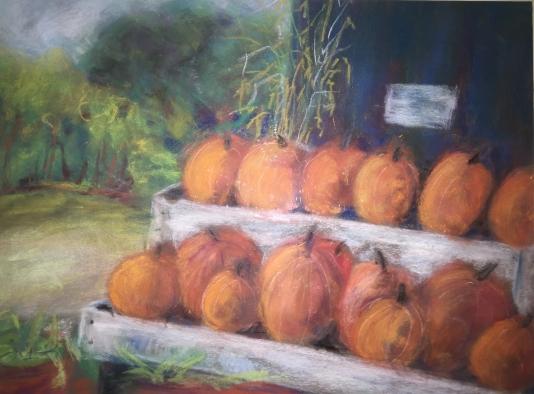 farmer's market pumpkins-pastel-16x20