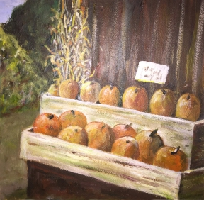 shelves of pumpkins - acrylics