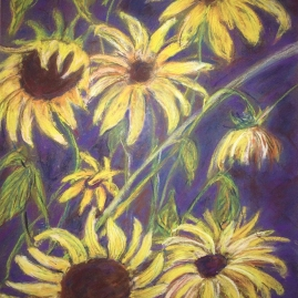 sunflowers for dick-pastel-16x20