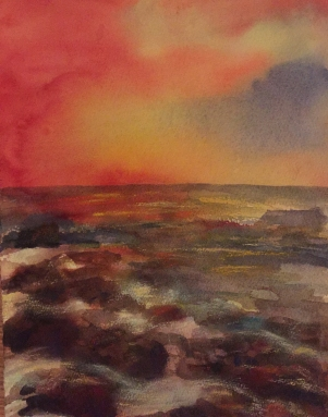 sunset over rocks-mixed media