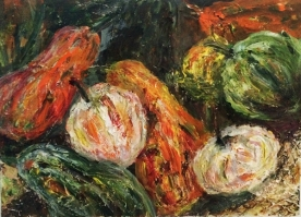 gourds, gourds, gourds- mixed media